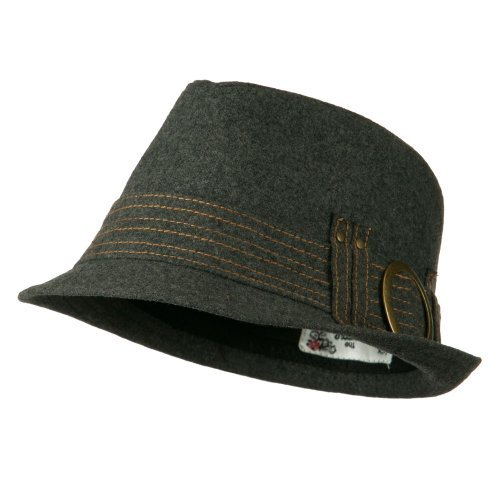 (Fedora with Buckle and Stitched Band - Grey OSFM)