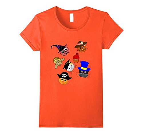 The Cat In The Hat Female Costume (Womens Cute Cats In Hat Halloween Costumes Shirt Teacher T-Shirt Medium Orange)