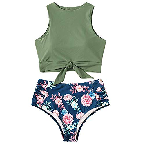 LilyCoco Women High Waisted Bikini Set Floral Printed Crop Knot Front Two Piece Swimsuit (Small, Z4-Green)