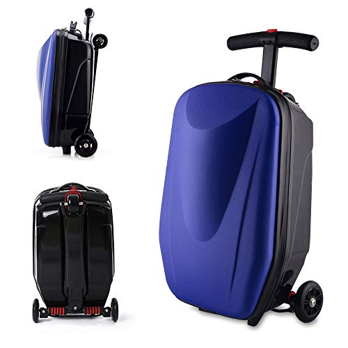 cb56dc5fd556 NOPTEG 20 inch Scooter Suitcase Ride-on Travel Trolley Luggage for Travel,  School and Business (Bark blue)
