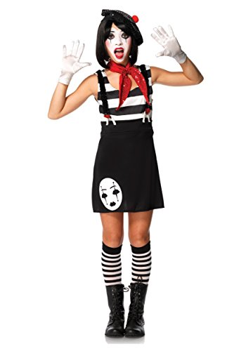 Leg Avenue Junior's 4 Piece Miss Mime Costume, Black/White, -