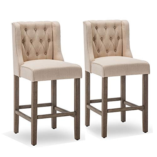 Belleze Button Tufted Wingback Fabric Upholstered Counter Stools Height Barstool Dining Chair Set of 2, Beige