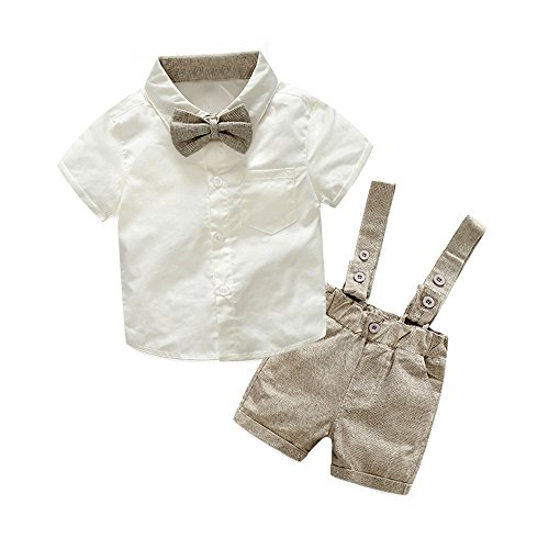 Tem Doger Baby Boys Cotton Gentleman Bowtie Short Sleeve Shirt+Overalls Shorts Outfits Set (Brown, 80/6-12 Months)