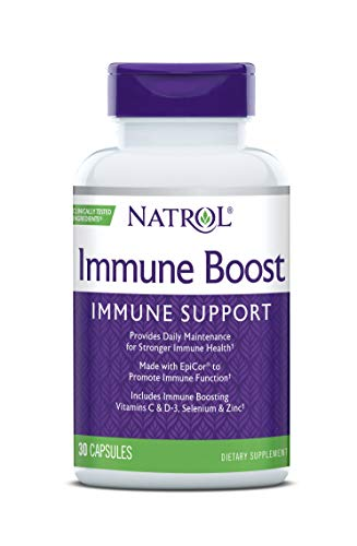Natrol Immune Boost Capsules, Immune Support, Made with EpiCor® Clinically Tested, Includes Vitamins C, D3, Selenium and Zinc, 30 Count