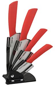 Melange 5-Piece Ceramic Knife Set with Red Handle and White Blade, Includes 6-Inch Chef's Knife, 5-Inch Santoku Knife, 4-Inch Utility Knife, 3-Inch Pairing Knife and Acrylic Holder