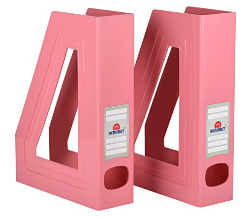 Acrimet Magazine File Holder (Solid Pink Color) (2 Pack)