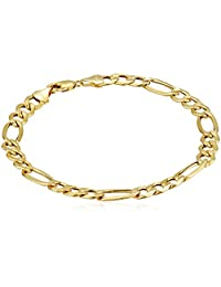 Klassics 10k Yellow Gold 7.5mm Figaro Men's Bracelet, 8.5""