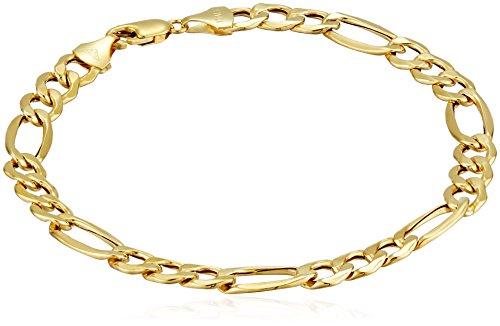 "Men's 10k Yellow Gold Hollow Figaro Bracelet, 8.5"" (7.5 mm)"