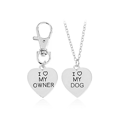 JolieHome Dog Matching Tag Collar Key Chain and Necklace Heart Shape Charm Necklace Pendant Necklace (Silver) (Silver Charm Dog Tag Pendant)
