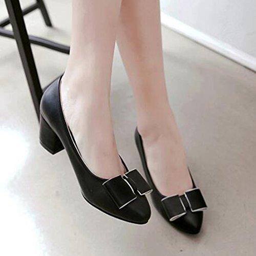 Easemax Élégant Noeud Noeuds Bout Pointu Bas Haut Mi Chunky Talon Pompes Chaussures Noir
