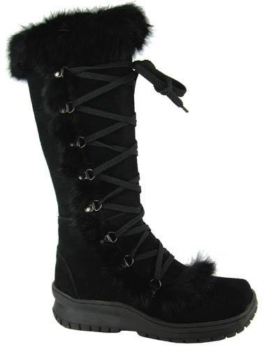 a6f72bea37672c BEARPAW Women's Suede & Rabbit Fur Boots - Style 499 Pasador (7, Black)