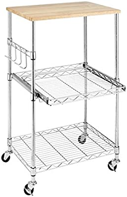 Amazon Com Whitmor Supreme Microwave Cart With Locking Wheels Chrome With Food Safe Cutting Board Home Kitchen