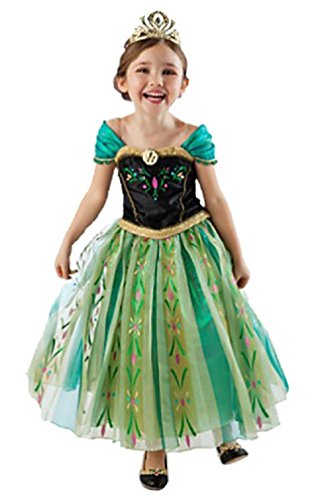 Frozen Anna Elsa Deluxe Girl's Costume Enchanting Dress (Age 7-8 (Heights upto 55 inches or 140 cm), Anna - Green) (Disney Frozen Deluxe Elsa Toddler Child Costume)