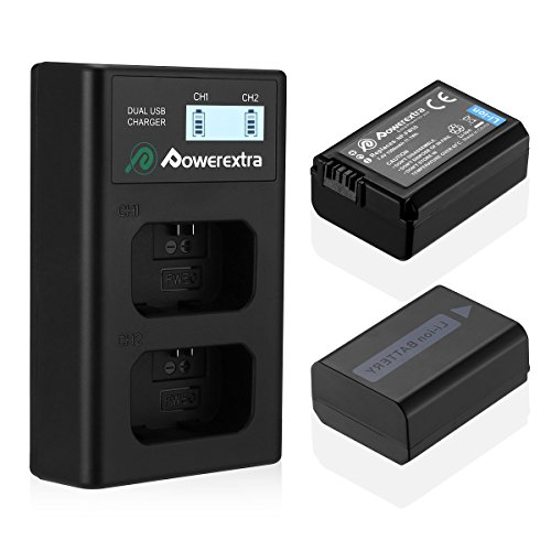 Powerextra 2 Pack Replacement Sony NP-FW50 Battery and Smart LCD Display Dual Channel Charger for Sony Alpha a6500, a6300, a6000, a7s, a7, a7s ii, a7s, a5100, a5000, a7r, a7 ii Digital Camera