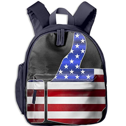 Durable Children's School Backpack With Front Pocket Usa Flag Clipart Double Zipper Travel Bag For Beach/Camping/vacation/Gym/Running/Classroom