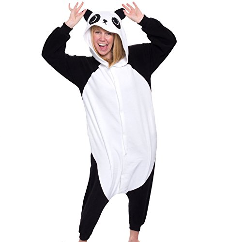 Silver Lilly Adult Pajamas - Plush One Piece Cosplay Animal Costume (Panda, M) (M&m Tank Costume)