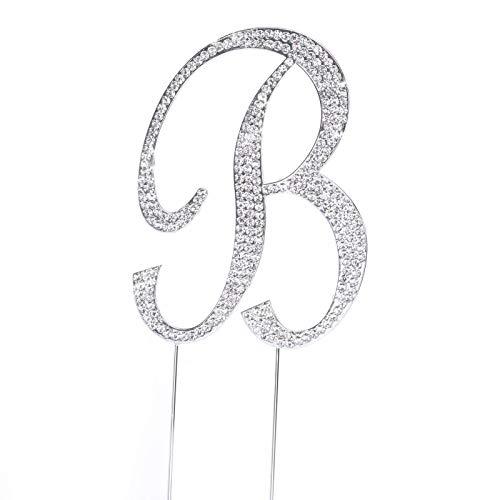 Crystal Monogram - Large Rhinestone Silver Letter B Crystal Monogram Letter Cake Top Topper Decoration