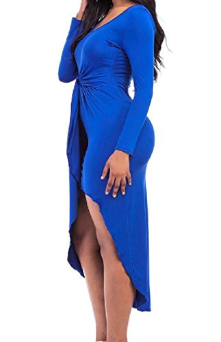 Cocktail Royal Sexy Club Pleated Coolred Dress Blue Women's Dress Bodycon Solid EwZzXzq