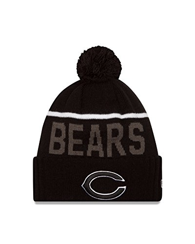 スリット赤字金銭的Chicago Bears New Era 2015 NFL Sideline Sport Knit Hat Chapeau - Black/White