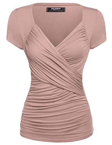 Zeagoo Women's Cross-front V Neck Pullover T-Shirt Ruched Blouse Top (X-Large, Nude)