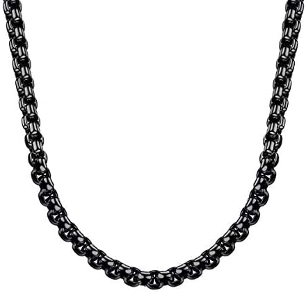 Bowisheet 3mm Black Square Rolo Chain Stainless Steel Round Box Chain Necklace Men Women Jewelry Amazon Com Towing chains & chain components starting as low as $2. bowisheet 2 5mm black square rolo chain stainless steel round box chain necklace men women