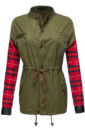 Plaid Contrast Military Army green Anorak Coat Jackets.
