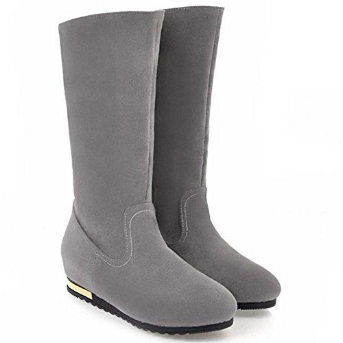 RAZAMAZA Women Boots Pull On Hidden Heel Gray WbZJk6D
