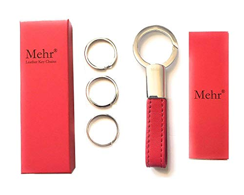 Mehr Classic Leather Valet Key Chain & Key Rings | Elegant, Timeless, Multi-Ring Keychain - Red