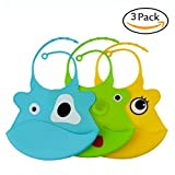 Waterproof Silicone Baby Bibs U-LOVE Adjustable Soft Feeding Bibs,Easy Clean Bibs Keep Stains Off for Infants & Toddlers (3 PACK, B002)