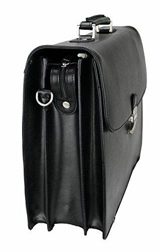 Herren Akten Tasche Umhängetasche Aktentasche Dokumententasche Leder Business Tasche Schwarz A414,15, 17 Zoll (XL)