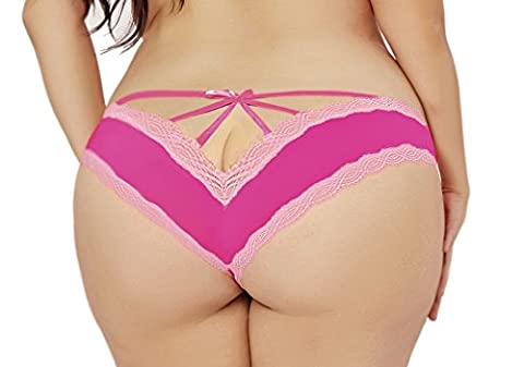 Lacy Line Plus Size Sexy Contrast Lace Hipster Panties With Strappy Back (3x/4x,Hot Pink) - Lace Up Plus Size Panties