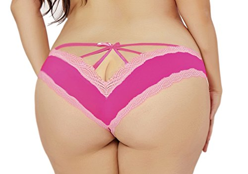 Lacy Line Plus Size Sexy Contrast Lace Hipster Panties With Strappy Back (1x/2x,Hot PInk)
