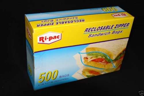 "500 6-1/2x5-7/8"" Zip Lock Reclosable Zipper Sandwich Storage Bags"