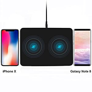 Dual Wireless Charging Pad, YOLIKE Dual Wireless Charger Pad for iPhone X iPhone 8 Plus iPhone 8, Samsung S9+ S9 Note8 S8 S8+ S7 S7 Edge S6 S6 Edge and Other Qi Smartphones(AC Adapter Included)-Black