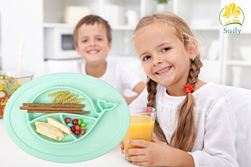 Suily Babies Highchair Feeding Tray Round Silicone Suction Placemat for Children, Kids, Toddlers,Kitchen Dining Table with Built in Plate and Bowl,Little Whale (Tiffany Green) by Suily (Image #2)