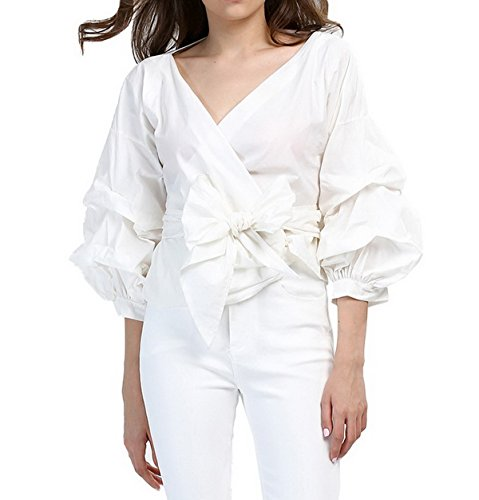 AOMEI Women Spring Summer Blouses with Puff Sleeve Sashes Shirts Tops (XXL, White)