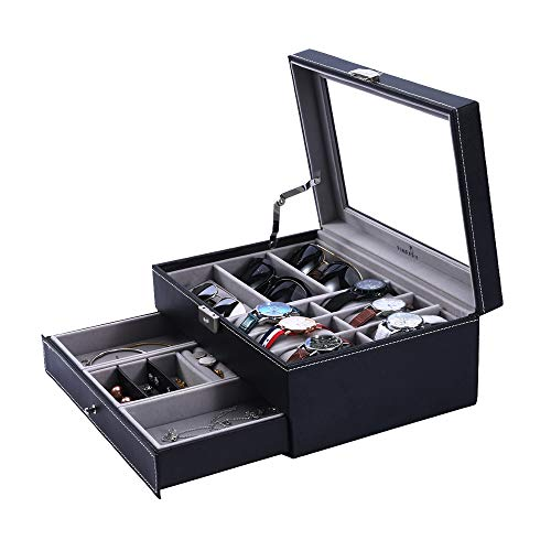 Case Ladies Jewelry (Watch Box Sunglasses Organizer with Jewelry Box for Men Women)