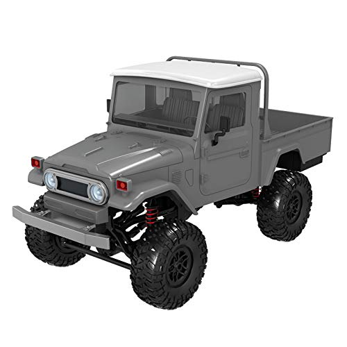 (2019 Hot Childrens Day Front LED Light 1:12 4WD RC Car Off-Road Military Rock Crawler Truck Buggy Toys Kids Gift (Silver))