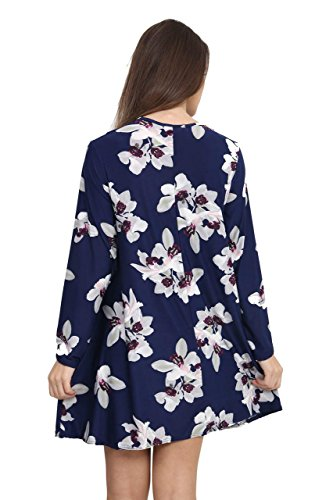 Girlzwalk Damen Langarm Printed Swing Skater Eine Linie Swing Dress Marine Lilie Blumen 3VlcW