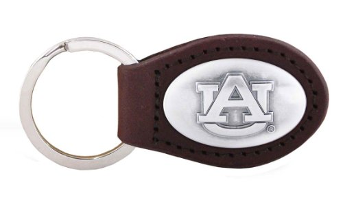 NCAA Auburn Tigers Brown Leather Concho Key Fob, One Size