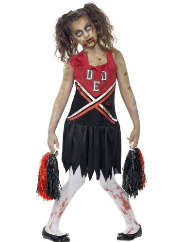 Smiffy's Children's Zombie Cheerleader Costume, Blood Stained Dress & Pom Poms, Color: Red & Black, Ages 10-12, Size: Large, 43023