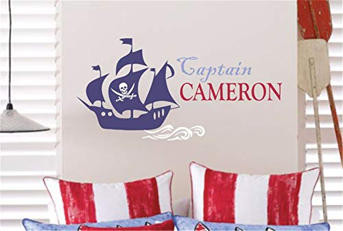 Hueoi Vinyl Wall Statement Family DIY Decor Art Stickers Home Decor Wall Art Cool Pirate Personalized Name Pirate Decal Pirate Ship Wall Wall Sticke Children's for Kids Rooms ()