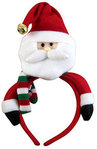 Christmas Holiday Santa Claus Child's Headband with Jingle Bell, 10 1/2 Inch