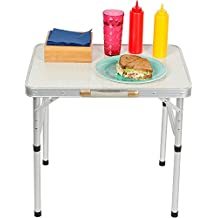 Trademark Innovations TBLE-PORT-SM Aluminum Adjustable Portable Folding Camp Table with Carry Handle