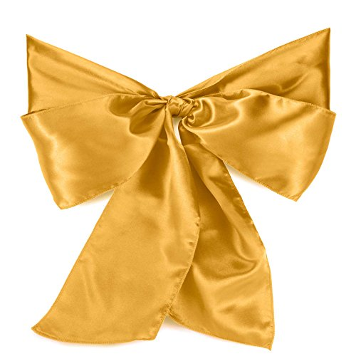 Lann's Linens - 10 Elegant Satin Wedding/Party Chair Cover Sashes/Bows - Ribbon Tie Back Sash - Gold (Gold Chair Ties)