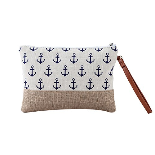 MISS FANTASY Makeup Bag Cosmetic Pouch with Anchor Print for Beach Time (Beige Small Bag)