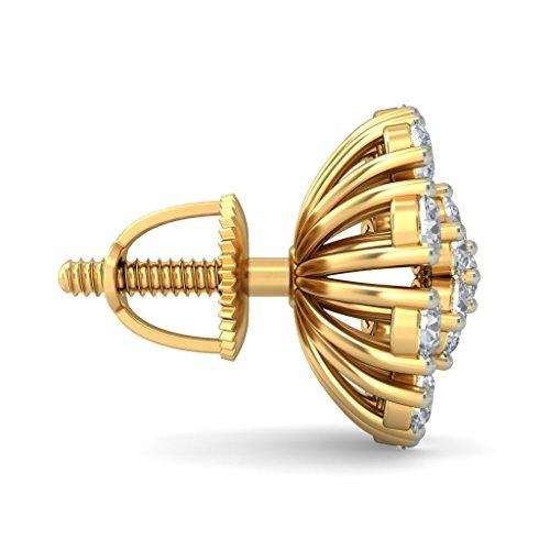 14K Or jaune 0,71CT TW White-diamond (IJ   SI) Boucles d'oreille à tige