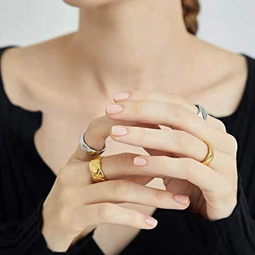 Coco Crush Wide Band Gold Ring Gold Wedding Band Minimalist Style Stacking Rings Wide Gold Silver Band Shapes Studio Gold Ring 18k Gold Rings for Women