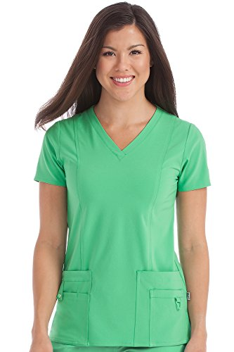 Med Couture Activate Scrub Top Women, V-Neck Princess Seam Top, Clover, Small ()