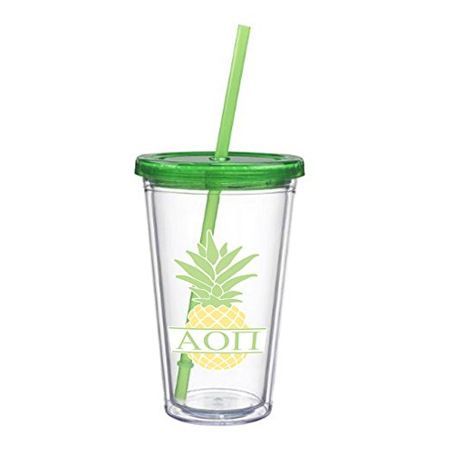 Alpha Omicron Pi Letter Pineapple Sticker on plastic Tumbler Greek Sorority Decal 16 oz. BPA Free - Policy Coach Return Store